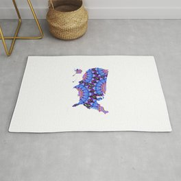 Purple and Blue Mandala Colorful Art - USA Map 39 - Sharon Cummings Rug