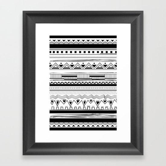 Tribal Pattern Black Framed Art Print