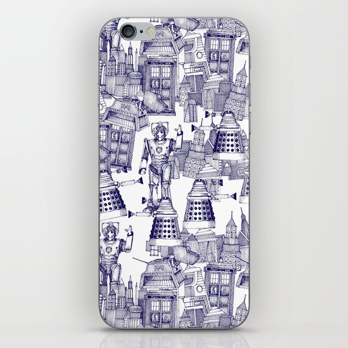 Doctor Who Toile de Jouy | 'Walking Doodle' | Blue iPhone Skin
