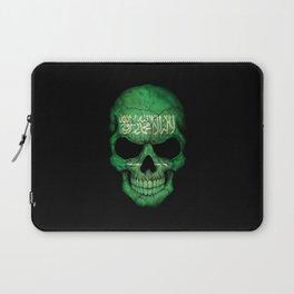 Dark Skull with Flag of Saudi Arabia Laptop Sleeve