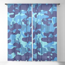 Camouflage (Blue) Sheer Curtain