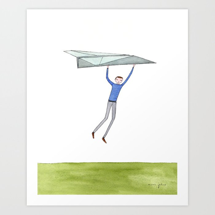 hang on to your paper airplane Art Print