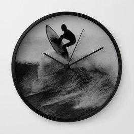 Surf black white Wall Clock