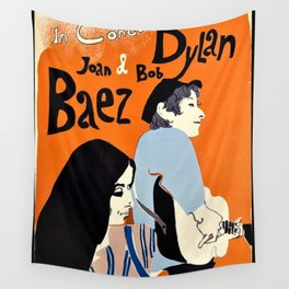 Vintage 1965 Bob Dylan in Concert Poster Wall Tapestry