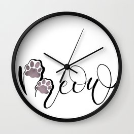 Meow Cat Lover Black By Prachies  Studio Wall Clock