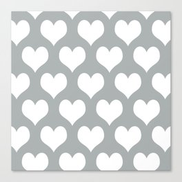Hearts of Love Grey & White Canvas Print