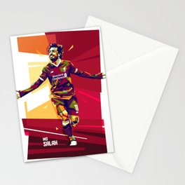 colorful illutration of mohamed salah Stationery Cards
