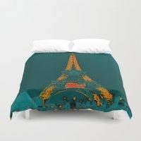 eiffel Duvet Covers featuring Tour Eiffel by Aloke Design