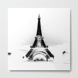 Paris Eiffel ToweR Black & White Metal Print