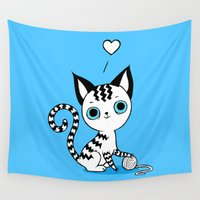 kitten Wall Tapestries featuring Kitten by Freeminds