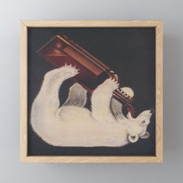 Polar Bear Drinking a Bottle Framed Mini Art Print