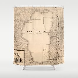 Vintage Map of Lake Tahoe Calfornia (1874) Shower Curtain