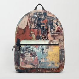 Mirage [1]: a vibrant abstract piece in pinks blues and gold by Alyssa Hamilton Art Backpack