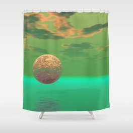 Pleasure, Abstract Green and Gold Completion Shower Curtain