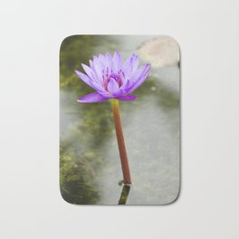 Blue Lotus Blooming in the Water Bath Mat