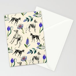 GREYHOUND DOGS & PRESSED FLOWERS Stationery Cards