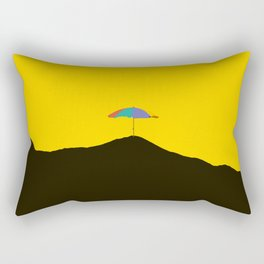 Colorful Umbrella On A Black Mountain In A Yellow Background - #society6 #buyart Rectangular Pillow