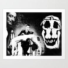 Surrealist Dali artwork, mixed media, hand drawing and digital overlay. Art Print