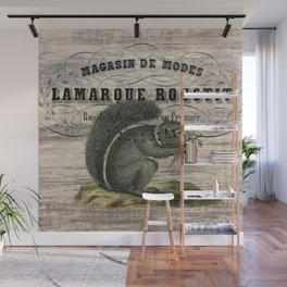 french country scripts fall autumn woodland animal grey squirrel Wall Mural