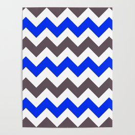 Blue Nebulas and Grey ZigZag Chevron Pattern Poster