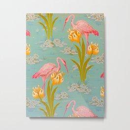 Papier peint - Isidore Leroy - 1905 Flamingo Pond Floral Pastel Pattern Metal Print