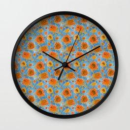 Australian Native Floral Pattern - King Protea Flowers Wall Clock