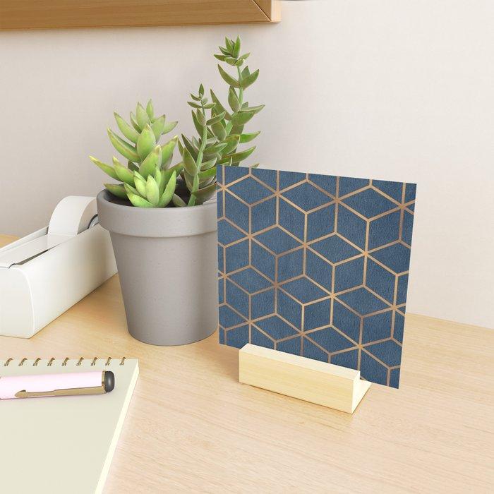 Dark Blue and Gold - Geometric Textured Cube Design Mini Art Print