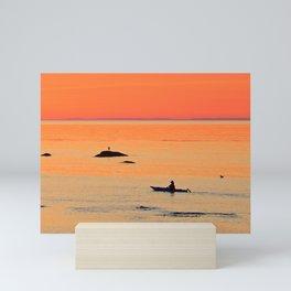 Kayak and Birds under Orange Skies Mini Art Print