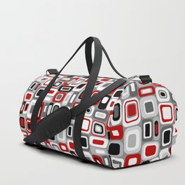 Mid Century Modern Squares and Rectangles // Red, Gray Black, White Duffle Bag