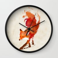 red hood Wall Clocks featuring Vulpes vulpes by Robert Farkas
