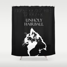 CAT METAL : Unblessing the Purrity - Unholy Hairball Shower Curtain