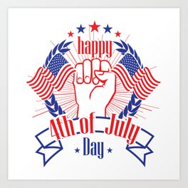 Happy 4th of July Freedom Hand & USA flag Art Print