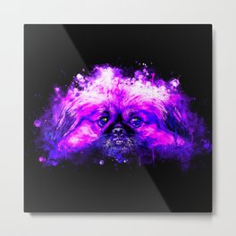 dog pekingese melting splatter watercolor Metal Print