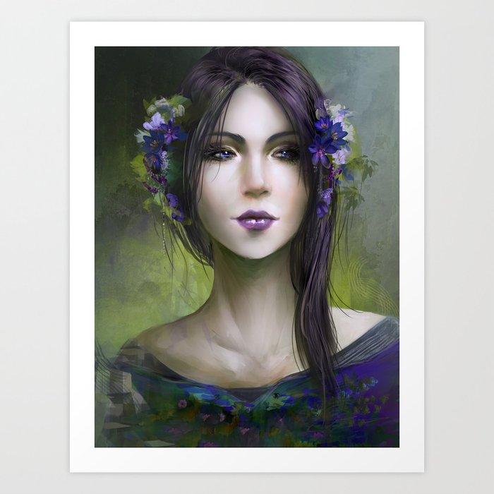 Viola - Girl with purple flowers in her hair Art Print