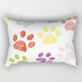 Colorful colored paw print background Rectangular Pillow