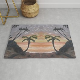 Palm Beach, Sea, Ocean, Summer Paradise at sunset, original oil painting by Luna Smith Rug