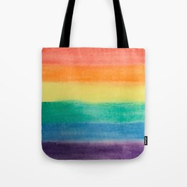 Large Hand Painted Watercolor Gay Pride Rainbow Equality and Freedom Flag Tote Bag