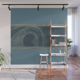 Blueprint  Feather and Gold 1 Wall Mural