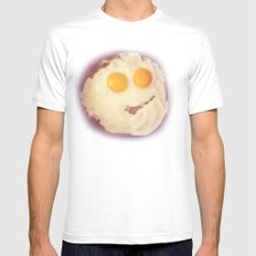 smiley egg MEDIUM White Mens Fitted Tee