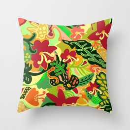 The Life Of Plants - Red Gold and Green Throw Pillow