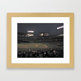 Baseball at night Framed Art Print