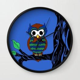 Mustachioed Owl Wall Clock