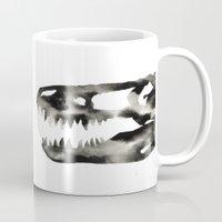 trex Mugs featuring Inkblot Trex Dinosaur by GeometricInk