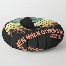 Bigfoot Funny Believe In Yourself Motivational Sasquatch Vintage Sunset Floor Pillow
