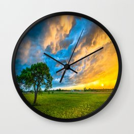 Fire and Ice - Lone Tree Under Colorful Storm Clouds at Sunset in Texas Wall Clock