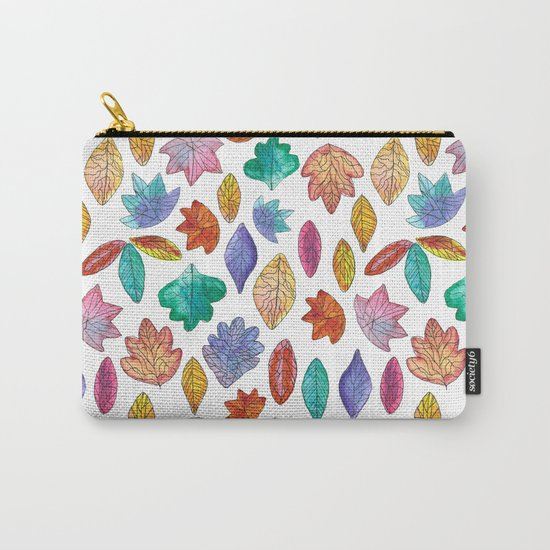 Watercolor Leafs Carry-All Pouch