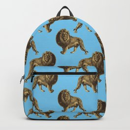 Chic Gold and Light Blue Lion Pattern Backpack