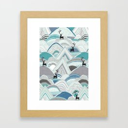 caribou mountains blue Framed Art Print