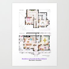 House of Lorelai & Rory Gilmore - Both Floorplans Art Print