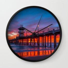 Crimson Sunset at Huntington Beach Pier. Wall Clock